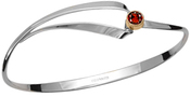 Image of Ed Levin Silver And 14k Gold Ribbon Gem Bracelet With Garnet View 1