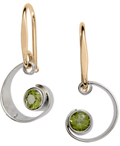 Image of Ed Levin Silver And 14k Gold Ebb Tide Earrings With Peridot View 1