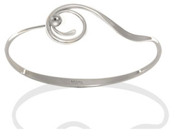 Image of Ed Levin Silver Bindu Bracelet With Silver Ball View 1