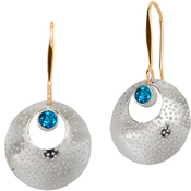 Image of Ed Levin Silver And 14k Gold Girls' Night Earring With Blue Topaz View 1