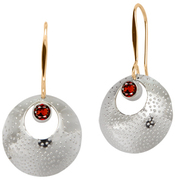 Image of Ed Levin Silver And 14k Gold Girls' Night Earring With Garnet View 1
