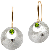 Image of Ed Levin Silver And 14k Gold Girls' Night Earring With Peridot View 1