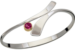 Image of Ed Levin Silver And 14k Gold Allemande Bracelet With Rhodolite Garnet View 2