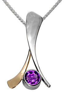 Image of Ed Levin Silver And 14k Gold Tidbit Pendant With Amethyst View 1