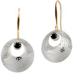 Image of Ed Levin Silver And 14k Gold Girls' Night Earring With Faceted Black Onyx View 1