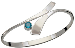 Image of Ed Levin Silver Allemande Bracelet With Blue Topaz View 2