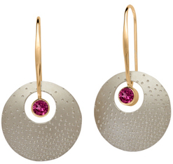 Image of Ed Levin Silver And 14k Gold Champagne Earrings With Rhodolite Garnet View 1