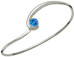 Image of Ed Levin Silver Gem Elegance Bracelet With Blue Topaz View 1