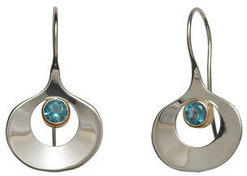 Image of Ed Levin Silver And 14k Gold Dawn Earrings With Blue Topaz View 1