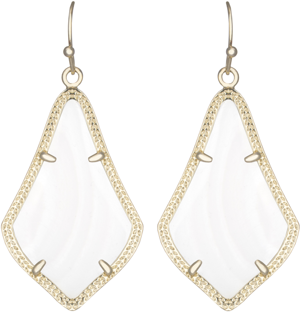 Alex Earring Gold Whitemop Image Of Kendra Scott Alex Gold Earrings In  White Mother Of Pearl View 1