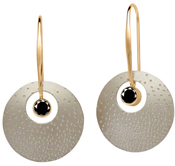 Image of Ed Levin Silver And 14k Gold Champagne Earrings With Faceted Black Onyx View 1