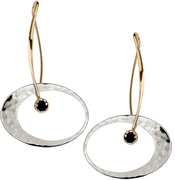 Image of Ed Levin 14k Gold And Silver Elliptical Elegance Earring With Faceted Black Onyx View 1