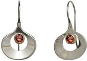 Image of Ed Levin Silver And 14k Gold Dawn Earrings With Garnet View 1