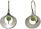 Image of Ed Levin Silver And 14k Gold Dawn Earrings With Peridot View 1
