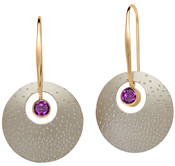 Image of Ed Levin Silver And 14k Gold Champagne Earrings With Amethyst View 1