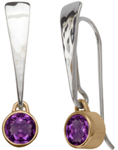 Image of Ed Levin Silver And 14k Gold Excitement! Earrings With Amethyst View 1