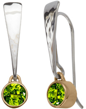 Image of Ed Levin Silver And 14k Gold Excitement! Earrings With Peridot View 1