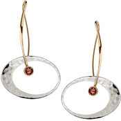 Image of Ed Levin 14k Gold And Silver Elliptical Elegance Earring With Garnet View 1