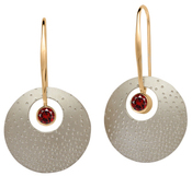 Image of Ed Levin Silver And 14k Gold Champagne Earrings With Garnet View 1