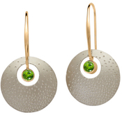 Image of Ed Levin Silver And 14k Gold Champagne Earrings With Peridot View 1