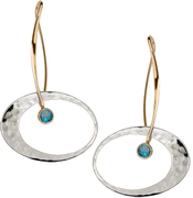 Image of Ed Levin 14k Gold And Silver Elliptical Elegance Earring With Blue Topaz View 1