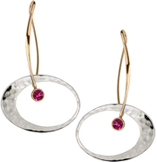 Image of Ed Levin 14k Gold And Silver Elliptical Elegance Earring With Rhodolite Garnet View 1
