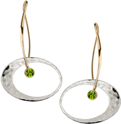 Image of Ed Levin 14k Gold And Silver Elliptical Elegance Earring With Peridot View 1