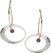 Image of Ed Levin 14k Gold And Silver Elliptical Elegance Earring With Amethyst View 1