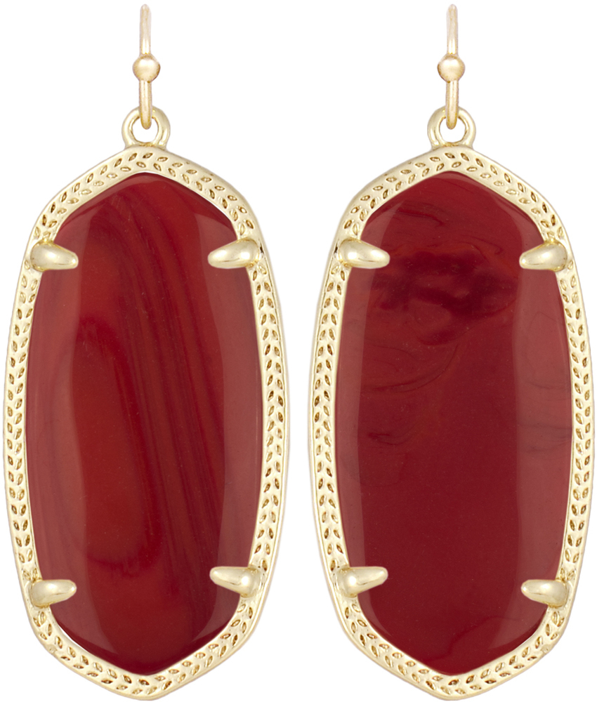 Elle Earring Gold Darkred Image Of Kendra Scott Elle Gold Earrings In Dark  Red Opaque Glass View 1