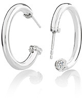 Image of Chamilia Crystal Capped Hoop Earring Polished View 3