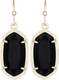 Image of Kendra Scott Dani Gold Earrings in Black Opaque Glass View 1