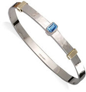Silver & 14k Gold Waltzing Stone Bracelet With Blue Topaz