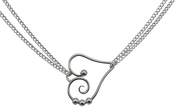Image of Saratoga Jewels Dew Drop - Heart Double Chain Necklace View 2