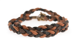 Image of Lenny and Eva Black & Brown Braided Wrap View 1