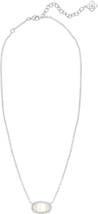 Elisa pave necklace rhodium ivory