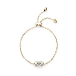 Image of Kendra Scott Elaina Gold Adjustable Chain Bracelet in Silver Filigree View 2