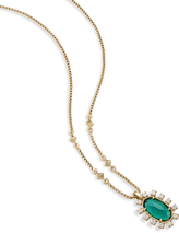Image of Kendra Scott Brett Pendant Necklace In Emerald Glass View 2