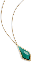 Image of Kendra Scott Damon Long Pendant Necklace In Emerald Glass View 2