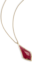 Image of Kendra Scott Damon Long Pendant Necklace In Berry Glass View 2
