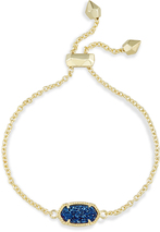 Image of Kendra Scott Elaina Adjustable Chain Bracelet In Blue Drusy View 2