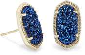Image of Kendra Scott Ellie Stud Earrings In Blue Drusy View 1