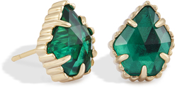 Image of Kendra Scott Tessa Stud Earrings in Emerald Glass View 1
