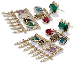 Kendra scott emmylou earring brass white cz multi jewel tone mix a 02 4217715507