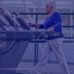 Elderly woman on treadmill