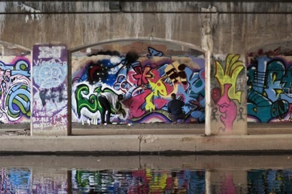 Farm lane bridge graffiti