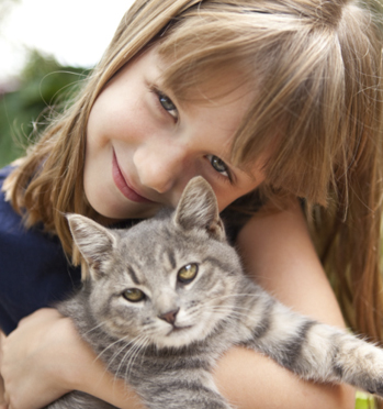 Girl with gray cat