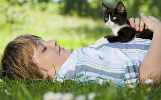 Young boy laying in grass with black and white cat