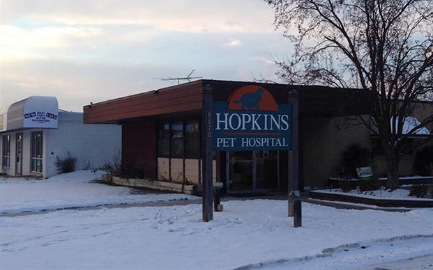 The outside of our veterinary hospital in Hopkins, MI