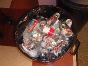 Cans and Plastic Bottles in a Recycling Can