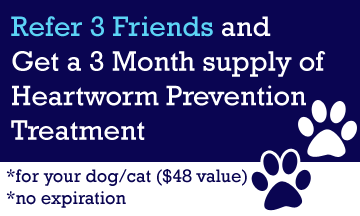 Refer 3 Friends and get a 3 Month Supply of Heartworm Prevention